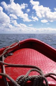 boating in the open blue sea